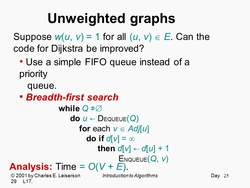 Unweighted graphs Suppose w(u, v) = 1 for all (u, v)  E. Can the