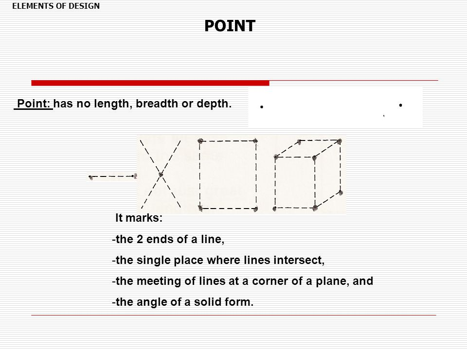 POINT Point: has no length, breadth or depth. It marks: