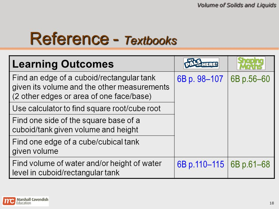 Reference - Textbooks Learning Outcomes 6B p. 98–107 6B p.56–60
