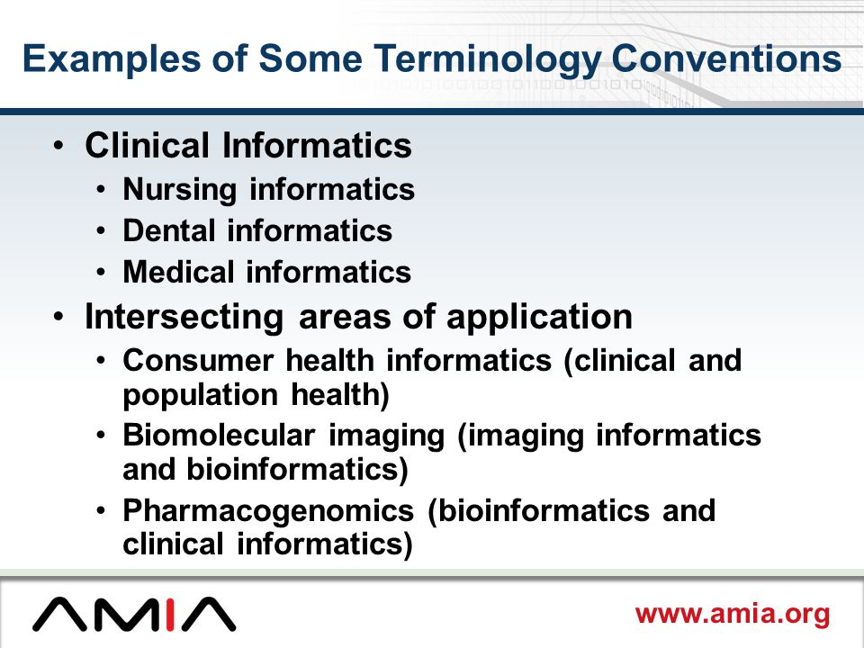 Examples of Some Terminology Conventions