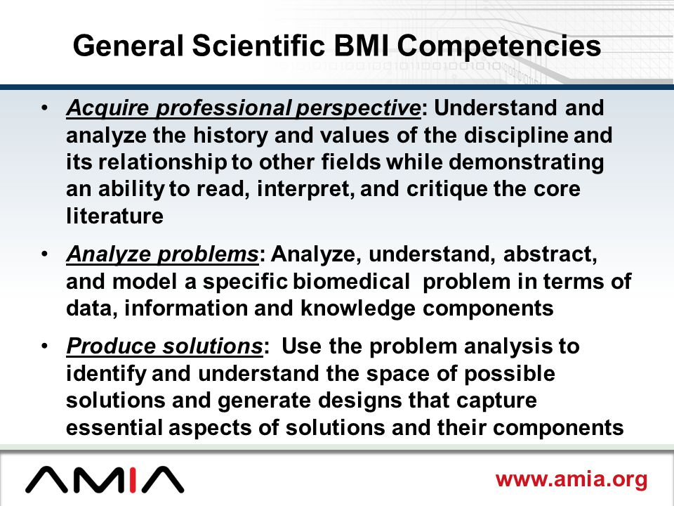 General Scientific BMI Competencies