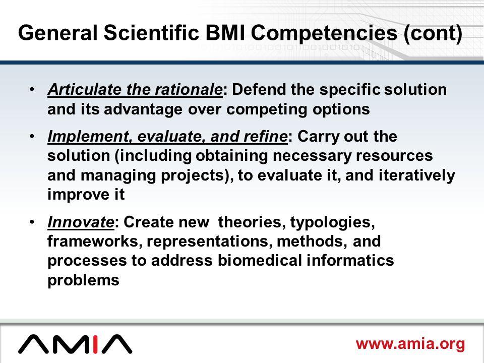 General Scientific BMI Competencies (cont)