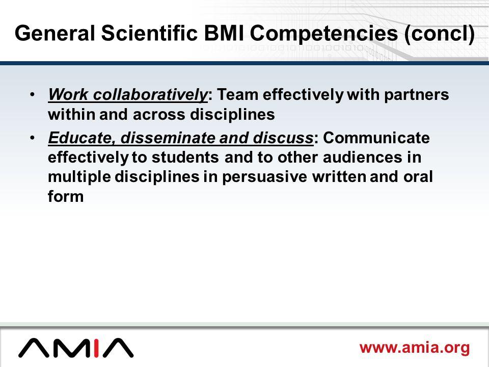 General Scientific BMI Competencies (concl)