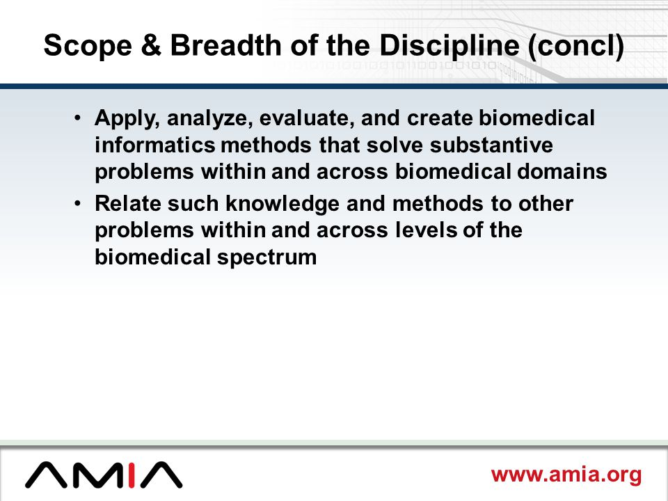 Scope & Breadth of the Discipline (concl)