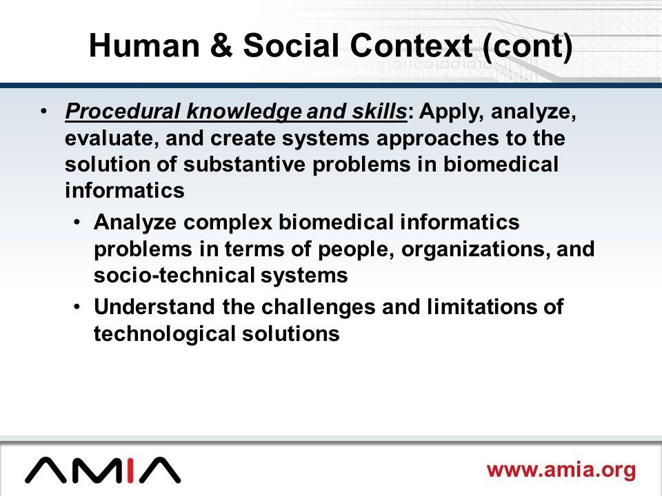 Human & Social Context (cont)