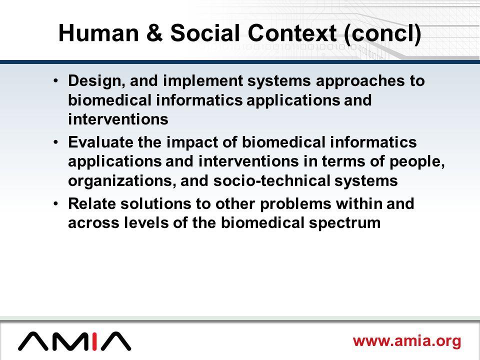 Human & Social Context (concl)