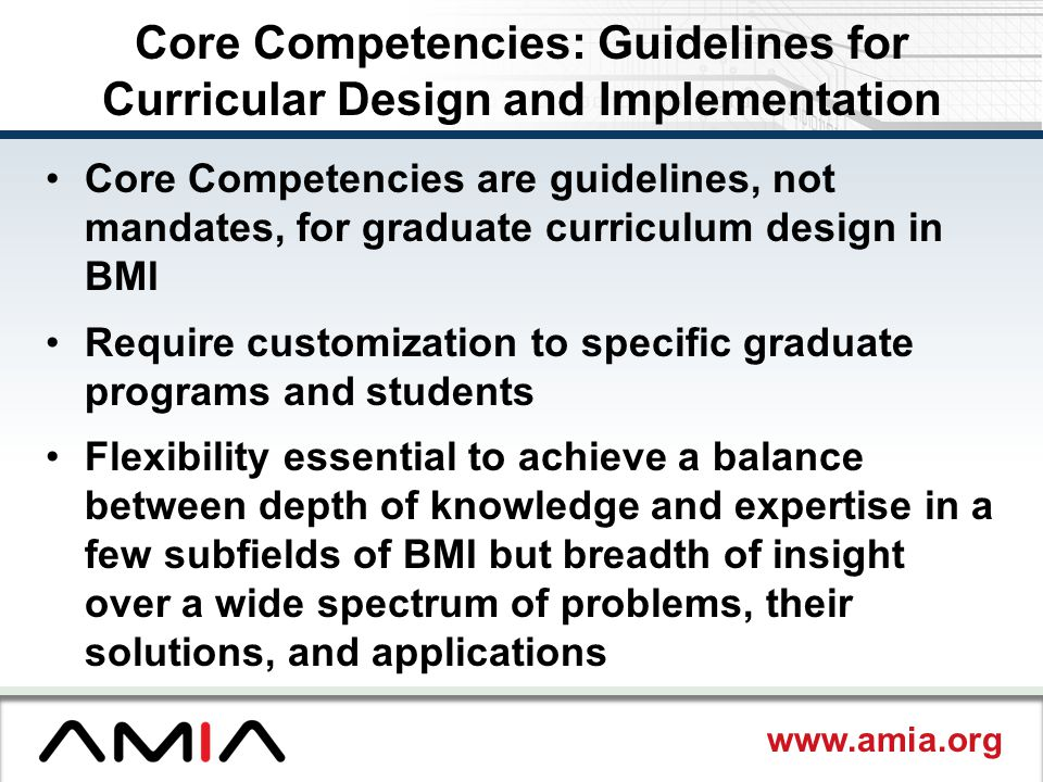 Core Competencies: Guidelines for Curricular Design and Implementation