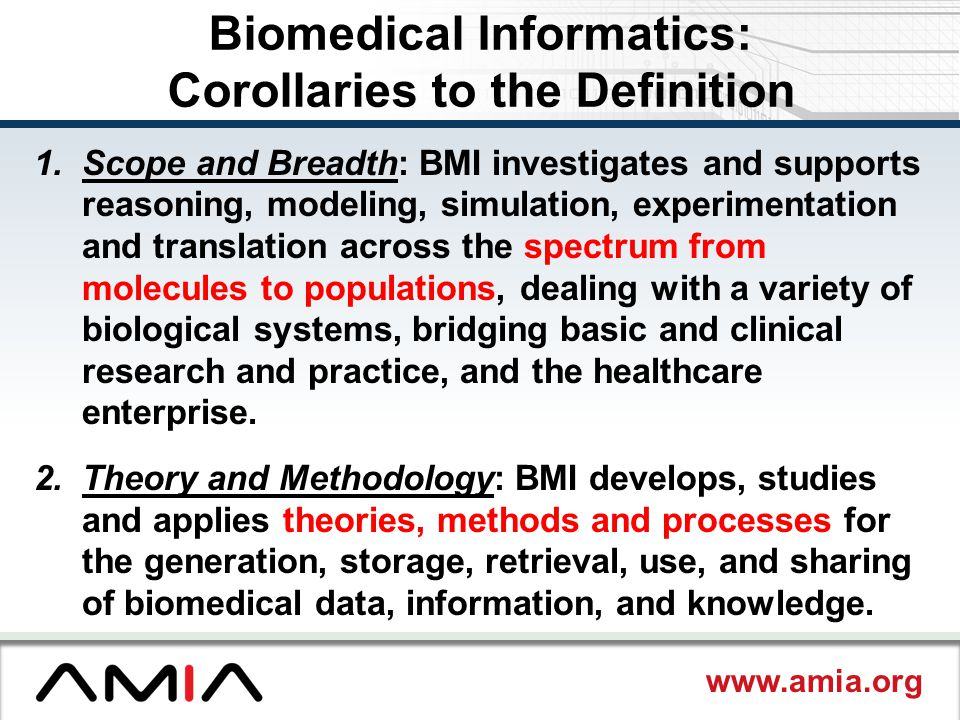 Biomedical Informatics: Corollaries to the Definition