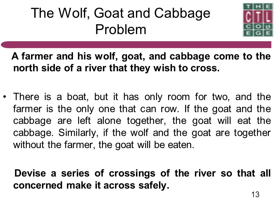 The Wolf, Goat and Cabbage Problem