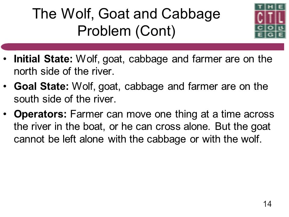 The Wolf, Goat and Cabbage Problem (Cont)