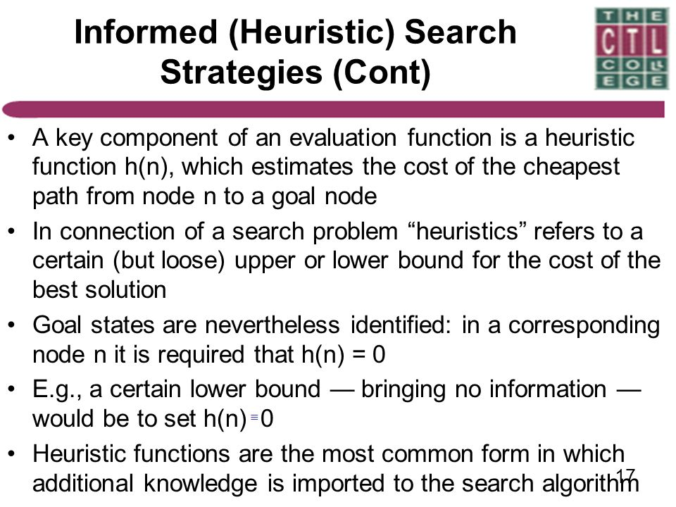 Informed (Heuristic) Search Strategies (Cont)