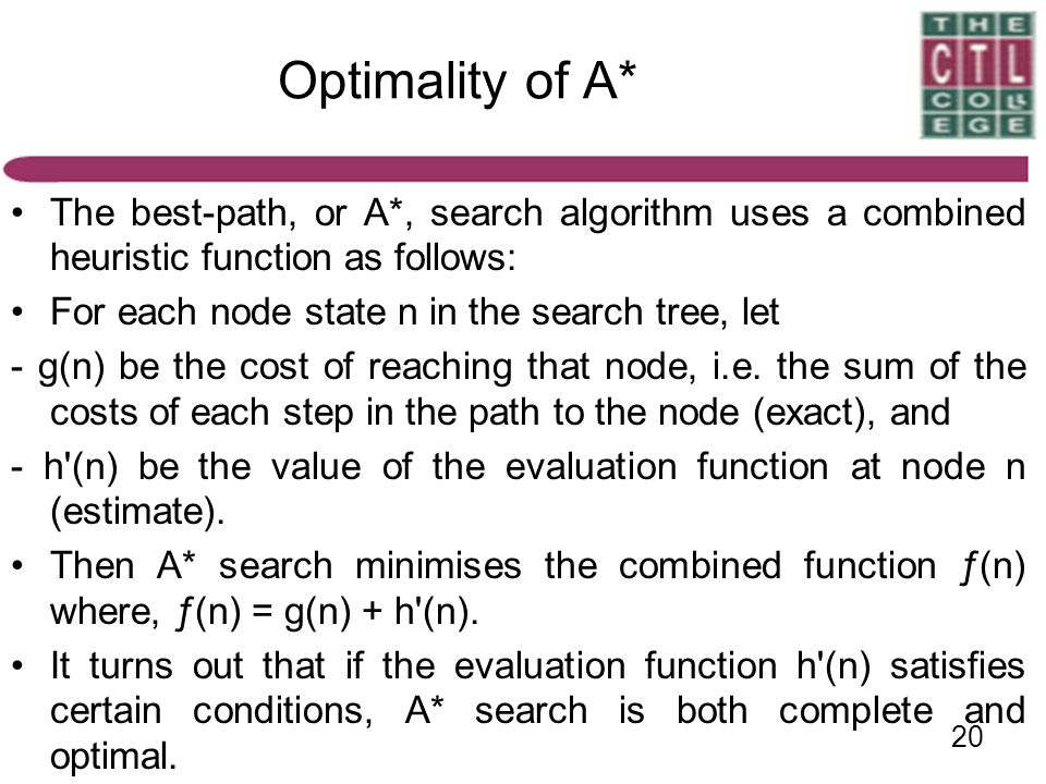 Optimality of A* The best-path, or A*, search algorithm uses a combined heuristic function as follows:
