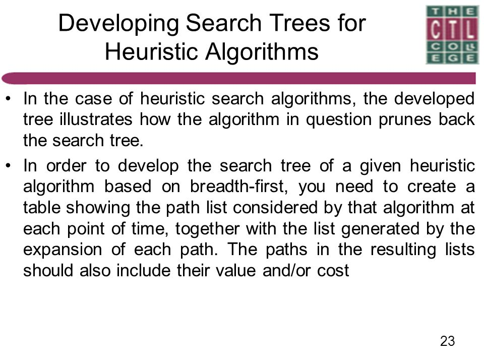 Developing Search Trees for Heuristic Algorithms