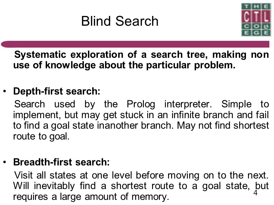 Blind Search Systematic exploration of a search tree, making non use of knowledge about the particular problem.