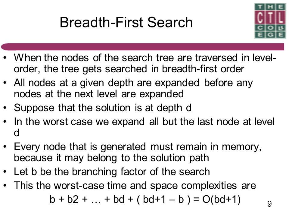 Breadth-First Search When the nodes of the search tree are traversed in level-order, the tree gets searched in breadth-first order.