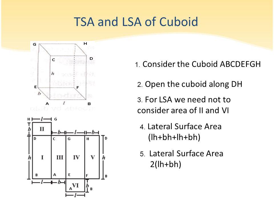 TSA and LSA of Cuboid (lh+bh+lh+bh) 2(lh+bh)
