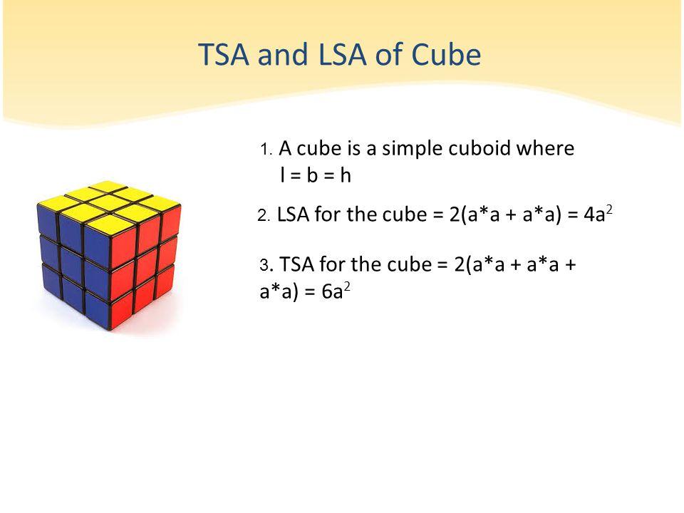 TSA and LSA of Cube l = b = h 1. A cube is a simple cuboid where