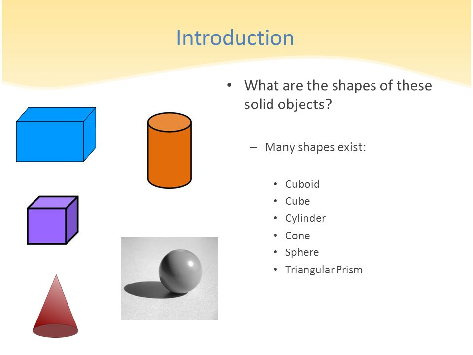 Introduction What are the shapes of these solid objects