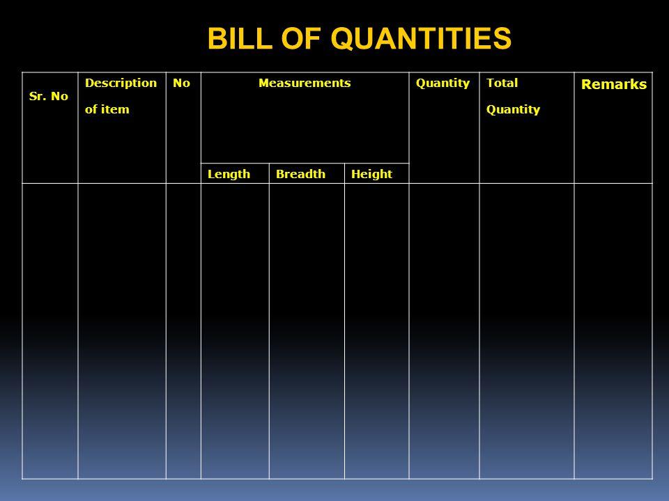 BILL OF QUANTITIES Remarks Sr. No Description of item No Measurements