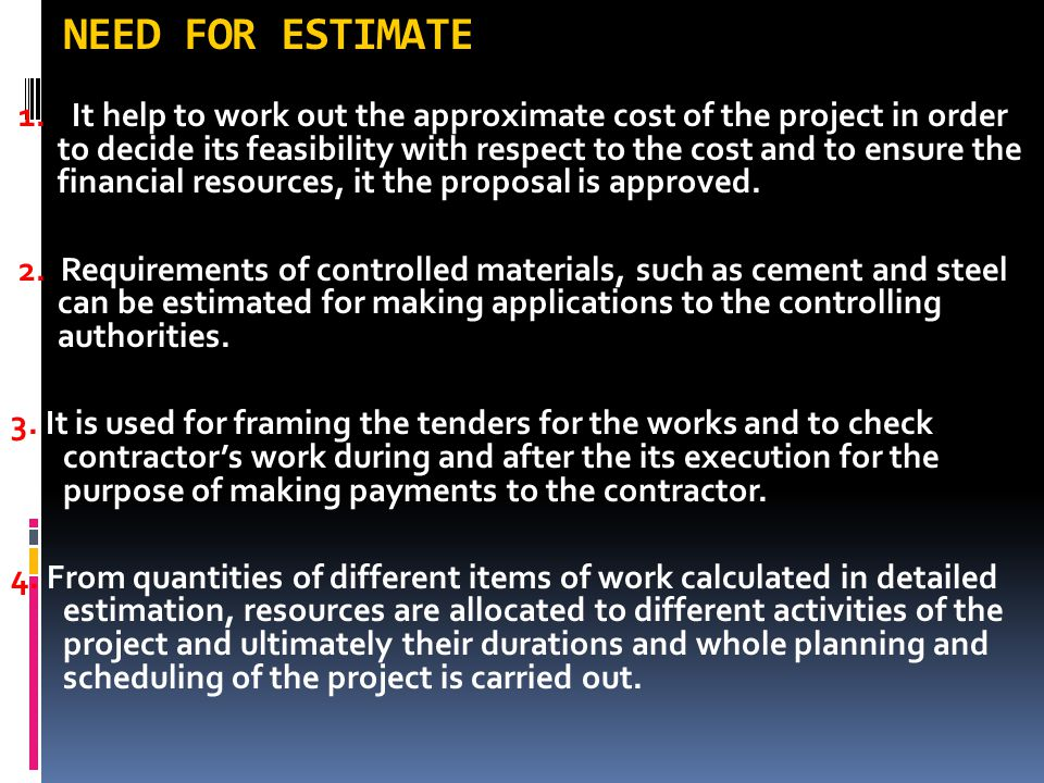NEED FOR ESTIMATE