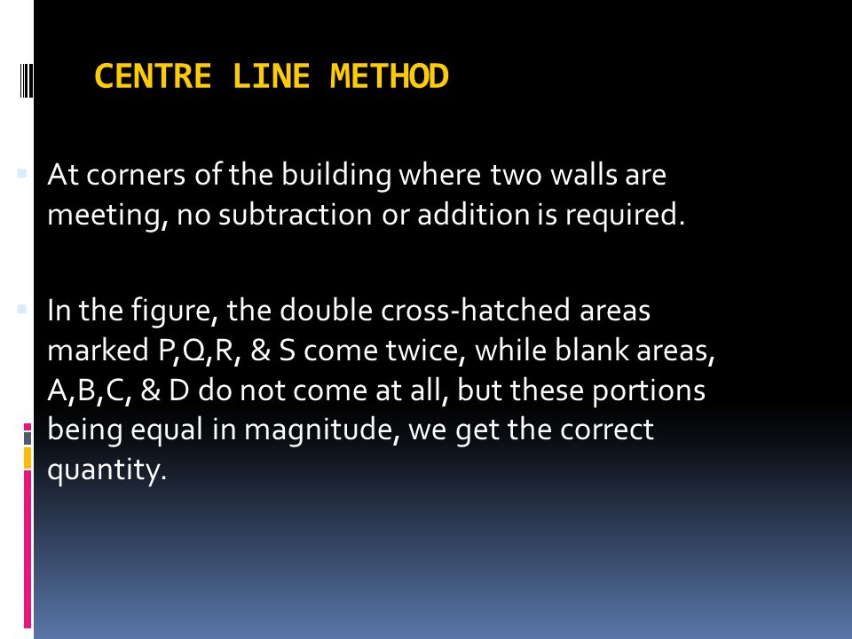 CENTRE LINE METHOD At corners of the building where two walls are meeting, no subtraction or addition is required.
