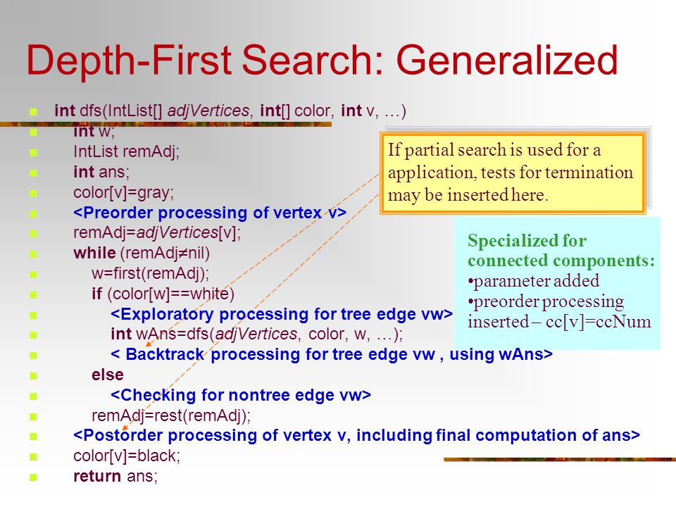 Depth-First Search: Generalized