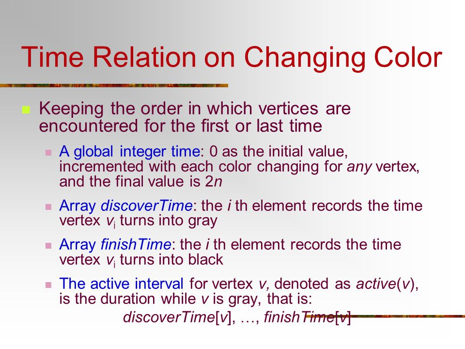 Time Relation on Changing Color