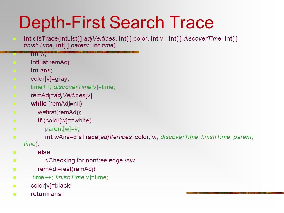 Depth-First Search Trace