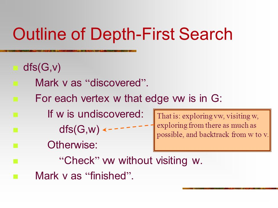 Outline of Depth-First Search