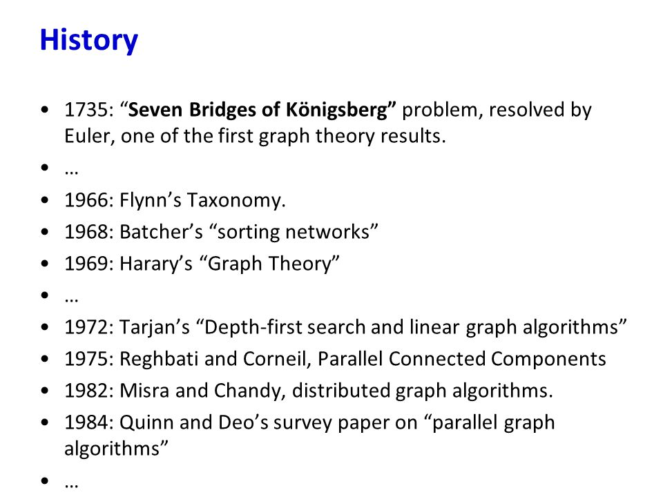 History 1735: Seven Bridges of Königsberg problem, resolved by Euler, one of the first graph theory results.