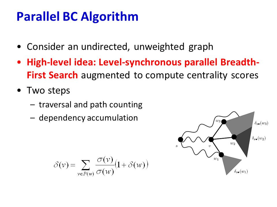Parallel BC Algorithm Consider an undirected, unweighted graph