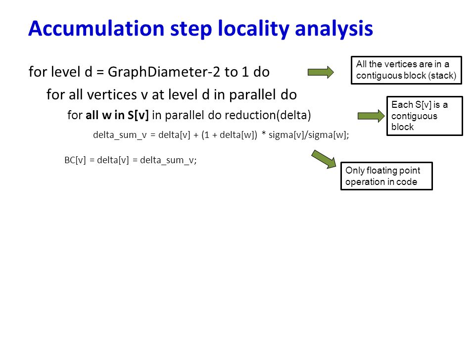 Accumulation step locality analysis
