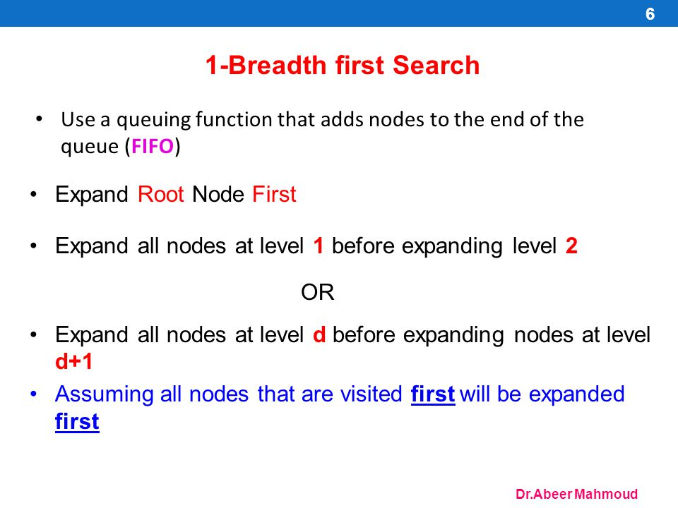 1-Breadth first Search Use a queuing function that adds nodes to the end of the queue (FIFO) Expand Root Node First.