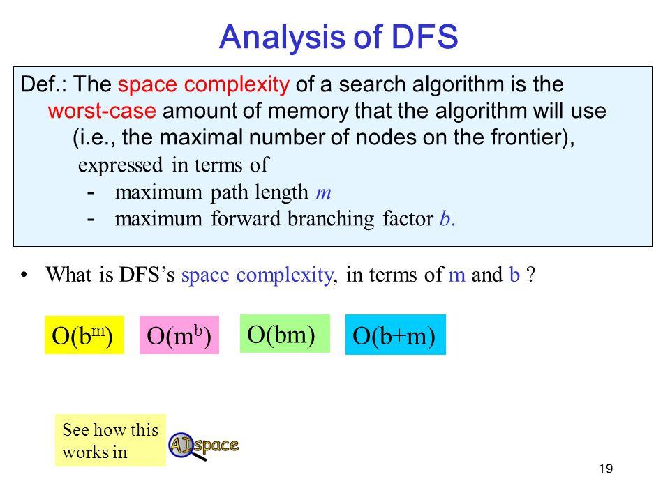 Analysis of DFS O(bm) O(mb) O(bm) O(b+m)
