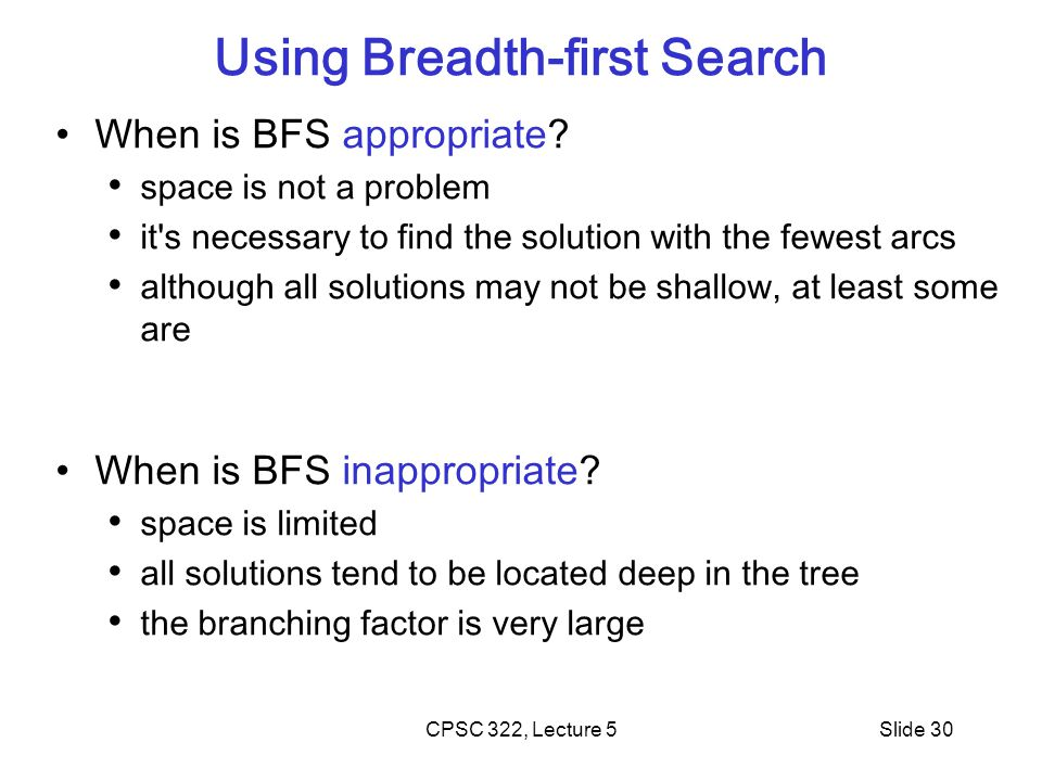 Using Breadth-first Search
