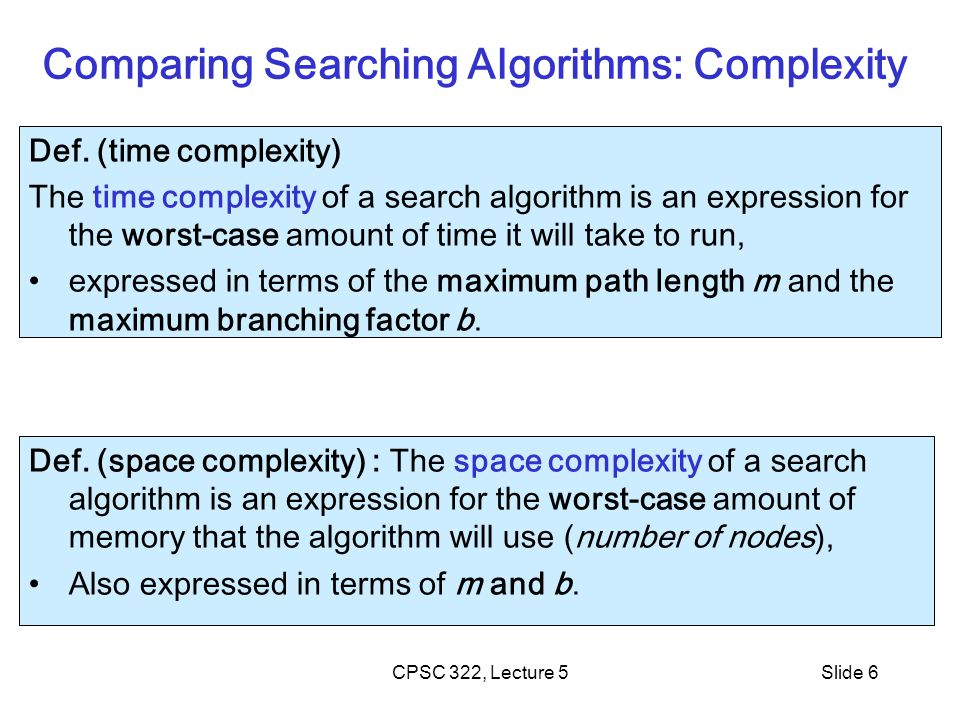 Comparing Searching Algorithms: Complexity