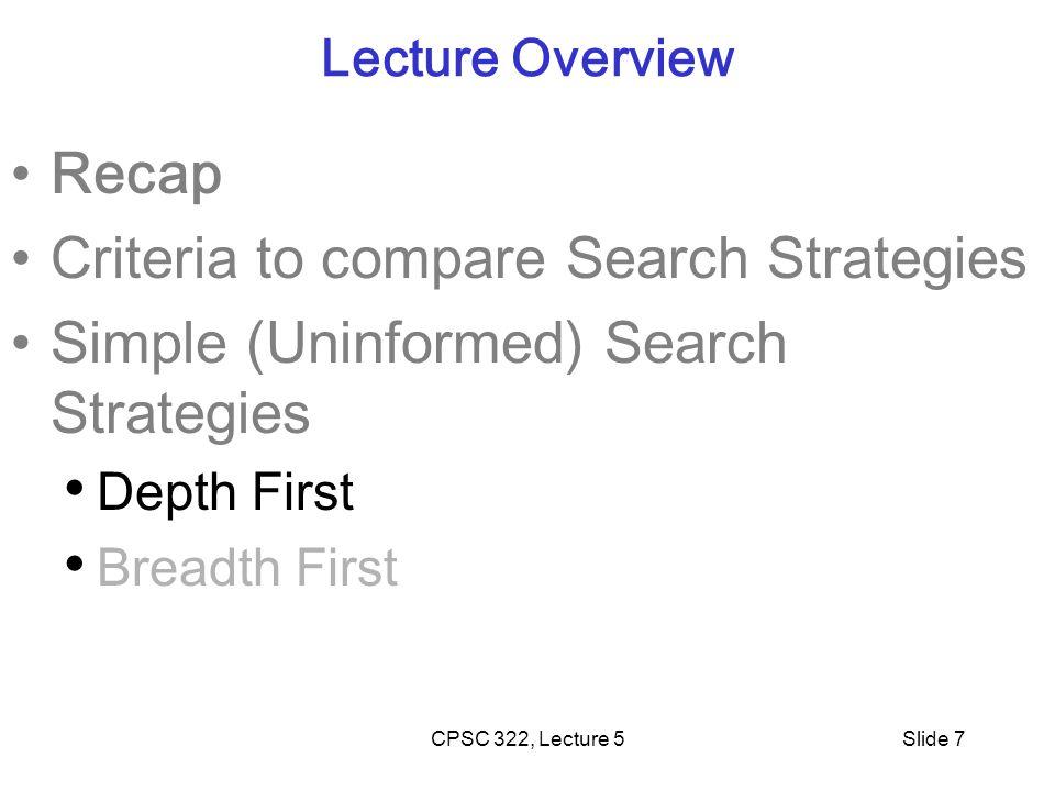 Criteria to compare Search Strategies