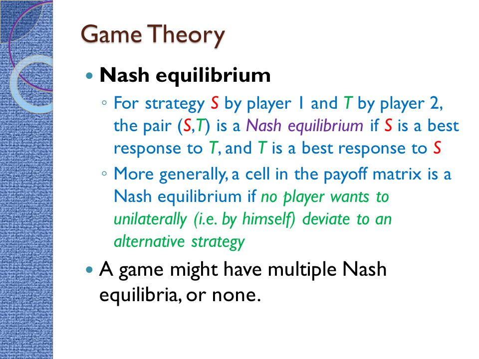 Game Theory Nash equilibrium