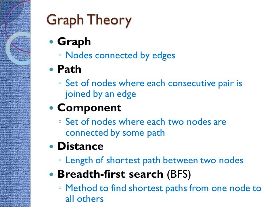 Graph Theory Graph Path Component Distance Breadth-first search (BFS)