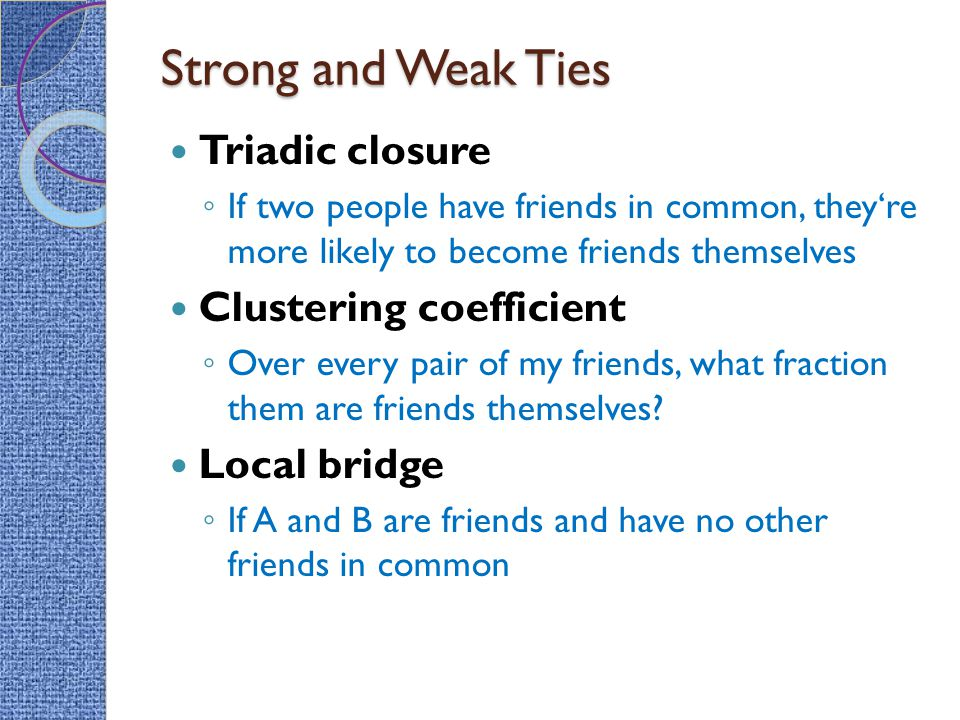 Strong and Weak Ties Triadic closure Clustering coefficient