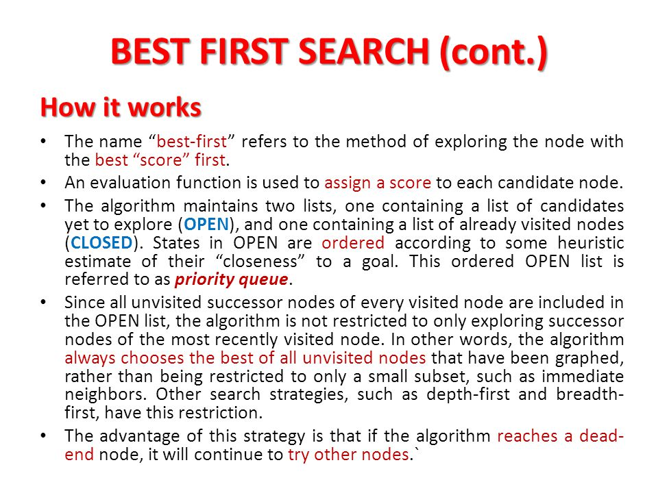 BEST FIRST SEARCH (cont.)
