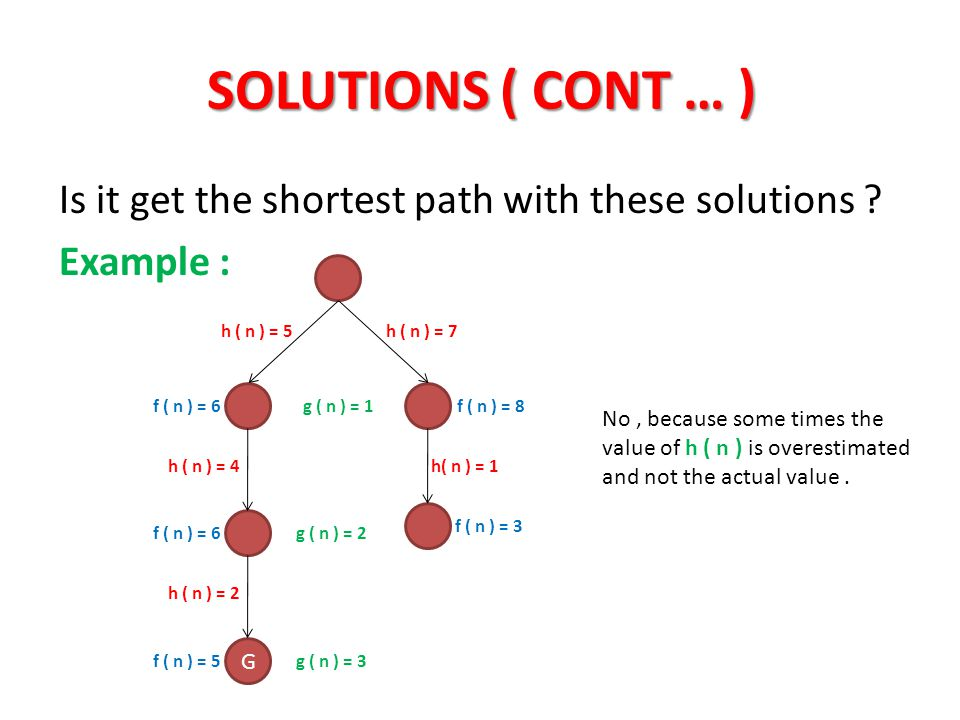SOLUTIONS ( CONT … ) Is it get the shortest path with these solutions Example : h ( n ) = 5. h ( n ) = 7.