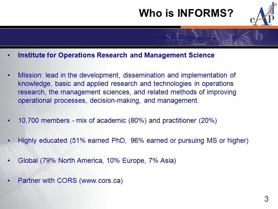 Who is INFORMS Institute for Operations Research and Management Science.