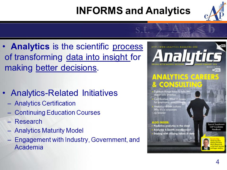 INFORMS and Analytics Analytics is the scientific process of transforming data into insight for making better decisions.