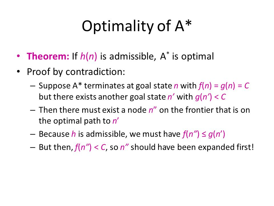 Optimality of A* Theorem: If h(n) is admissible, A* is optimal