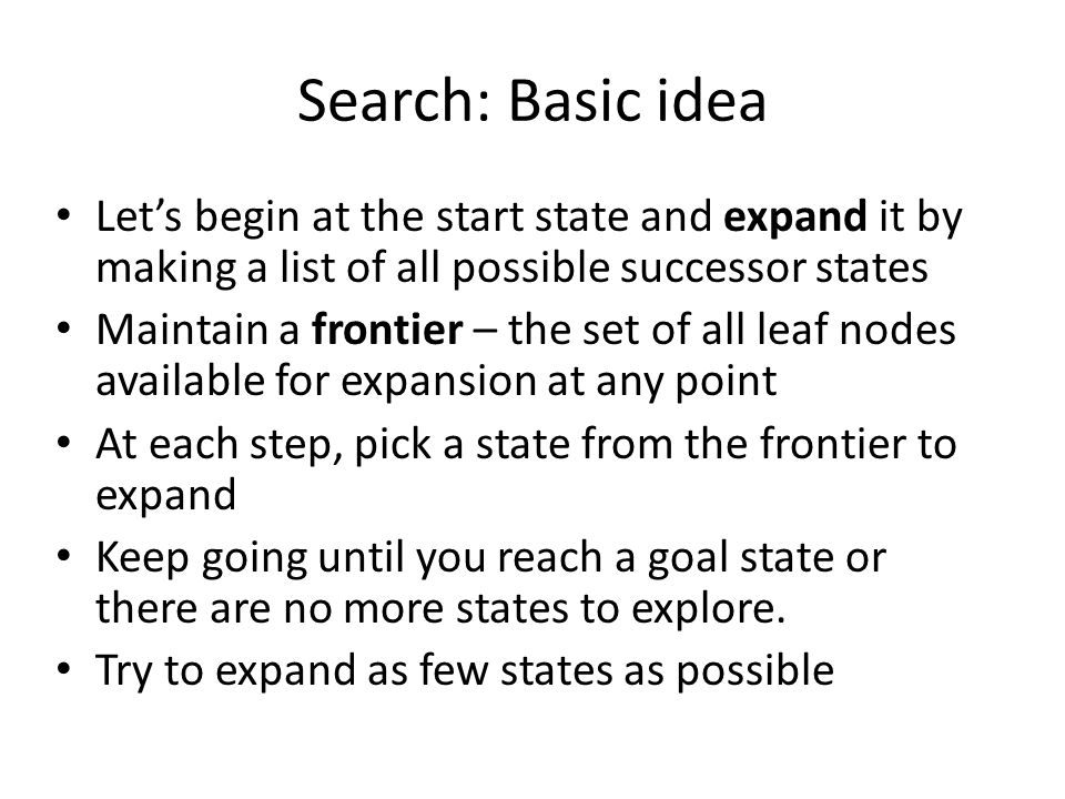 Search: Basic idea Let's begin at the start state and expand it by making a list of all possible successor states.