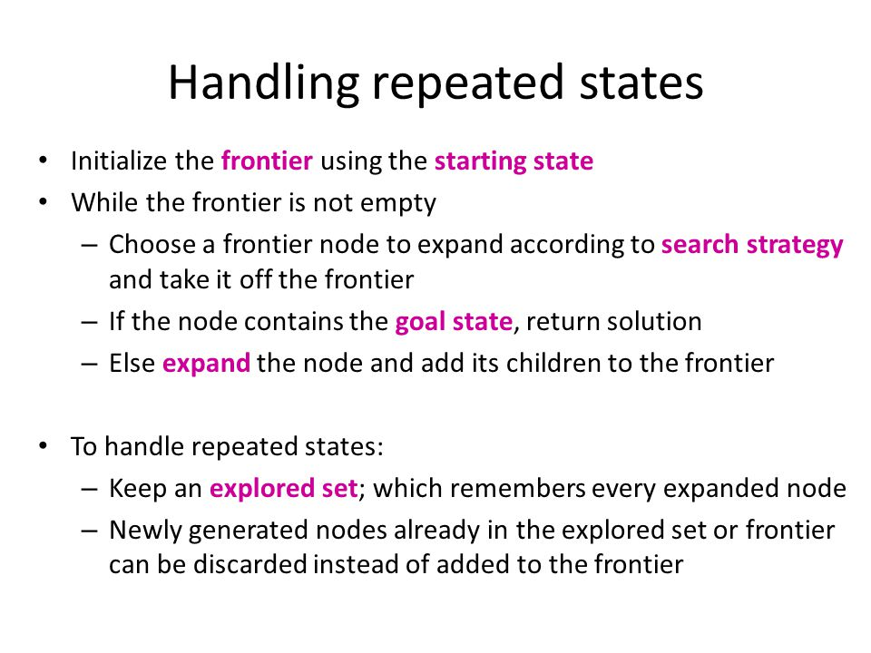 Handling repeated states