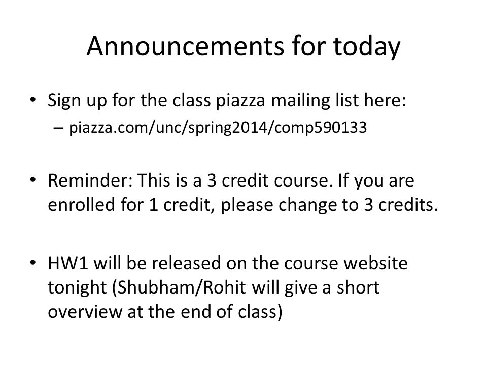 Announcements for today