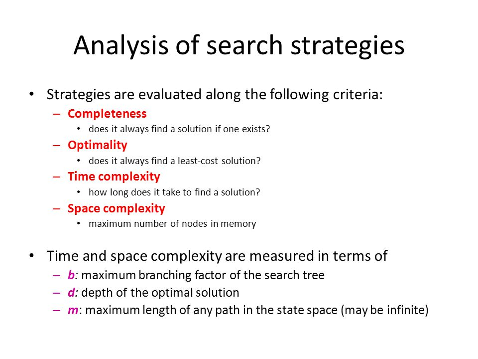 Analysis of search strategies