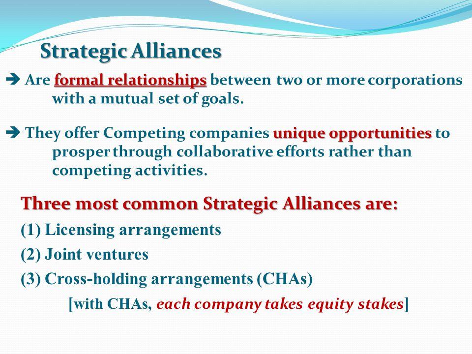 Strategic Alliances Three most common Strategic Alliances are: